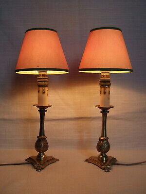Pair Antique  French Gilt Bronze Table Lamps, With Shades.