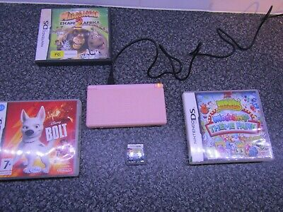 Nintendo DS Lite Pink - New Charger - Full Working Order - With 4 Games