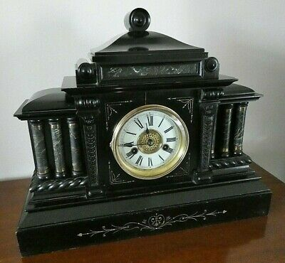 German H.a.c Victorian Wooden Mantel Clock Working Order