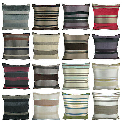 """Set of 4 - Luxury Chenille Stripe Cushion Covers Shop with Zip Opening - 18x18"""""""