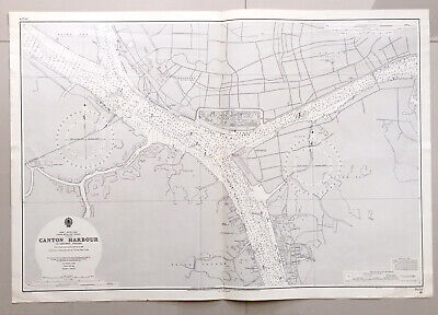 Original Admiralty sea chart map of Canton (Guangzhou) Harbour, China 1950