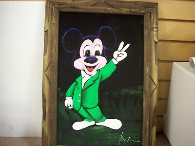 Vintage Mickey Mouse on Black Velvet Painted Picture ~ Wooden Frame
