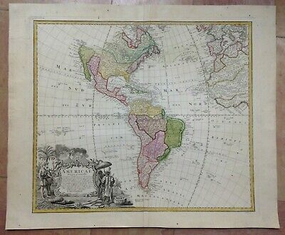 THE AMERICAS by HOMANN HEIRS DATED 1746 18e CENTURY LARGE NICE ANTIQUE MAP