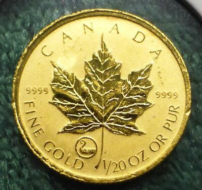 2001 Reverse Proof Canada Maple Leaf 1/20 oz .9999 Fine Gold $1, Viking Privy