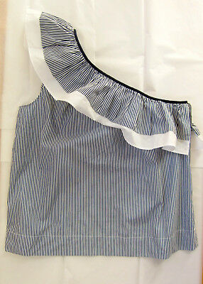 70b42b0c1ad NWT J.CREW ONE-SHOULDER Ruffle Top in Stripe Size 6 White Navy Item ...