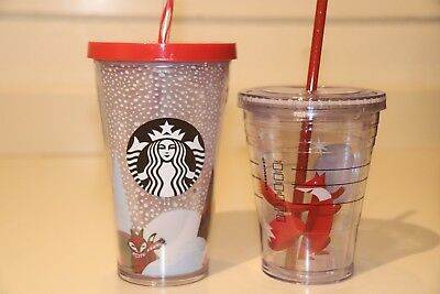 Starbucks 2012 Two Cute Insulated Cold Cups: Fox In Snowfall And Fox With Scarf