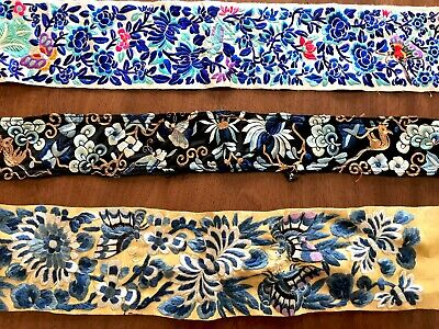 Antique Hand Embroidered Chinese Silk Panels / Belts X 3