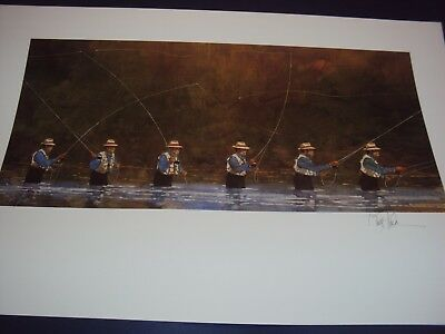 """Bart Forbes art print  """" Fly Fishing """"  HAND SIGNED by the Artist"""