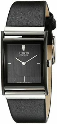 Citizen Eco-Drive Black Dial Black Ion Plated Leather Men's Watch BL6005-01E