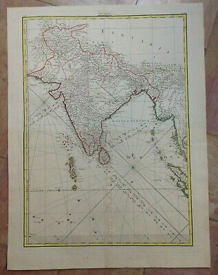 INDIA CEYLON 18TH CENTURY by JANVIER LARGE ANTIQUE ENGRAVED MAP IN COLORS (65X49