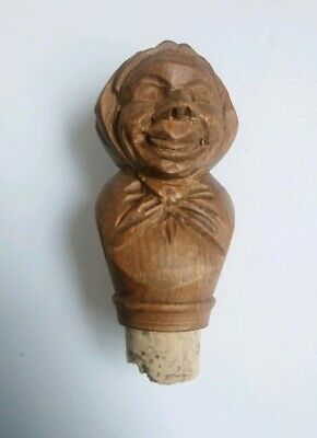 Rare Antique Carved Wood Black Forest Bottle Cork Stopper Old Lady Character Fun