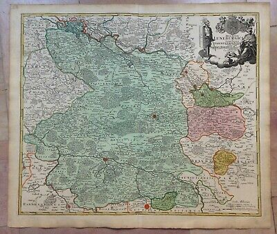 GERMANY LOWER SAXONY JB HOMANN 1720 18e CENTURY LARGE NICE ANTIQUE ENGRAVED MAP