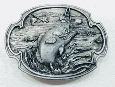 Vintage Siskiyou 1984 Jumping Bass Fishing Williams, Oregon Pewter Belt Buckle