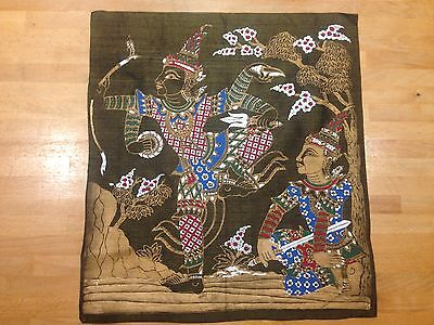 Antique screen printed/hand painted Asian musician and dancer on metallic fabric