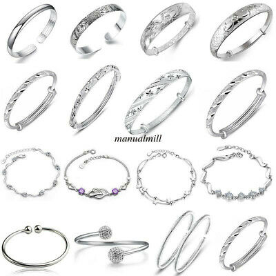Fashion Womens Jewelry Bangle Chain Bracelets 925 Sterling Silver Crystal Charms