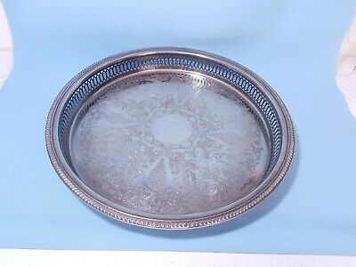 A Very Elegant Vintage Silver Plated Gallery Serving Tray.with floral patterns.