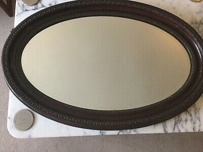 Oval Vintage Art Deco Wall Mirror With Chain Beveled Edge 50 00 Picclick Uk