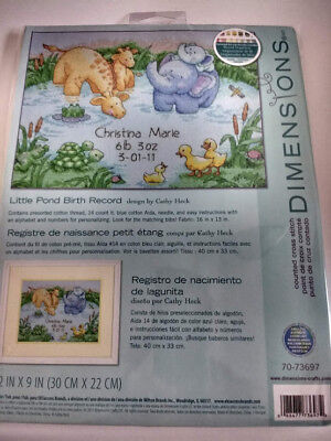 "Dimensions LITTLE POND BIRTH RECORD 70-73697 COUNTED CROSS STITCH 12/"" X 9/"""