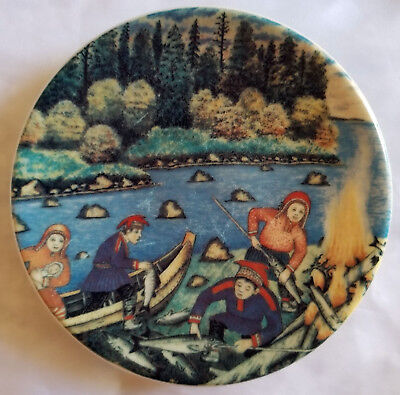 """Vintage 1983 Finnish decorative plate """"Fisherman's Fire"""" Arabia from Finland"""