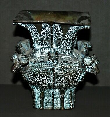 Reproduction Antique Chinese Fang Zun Vessel 1100 Bc Bronze Vase 4 Sheep Head