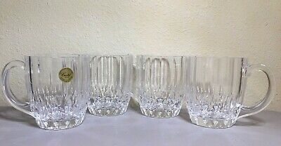 Set of 4 Cristal d'Arques-Durand 24% Lead Crystal MUG Bretagne Mug /Glass France