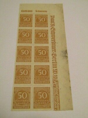 Germany, Deutsches Reich 50 Tausend Mark, Block Of 10 Inflation Stamps Mnh Ng