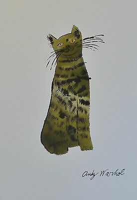 Andy Warhol Green Sam 54  Signed Cat Lithograph Matted