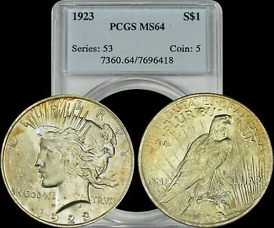 1923 Silver Peace Dollar PCGS MS64 Golden Toned Coin