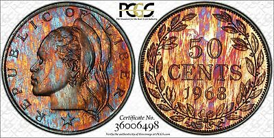 environmental Damage Toned Proof With The Best Service 1968 Liberia 1 One Cents Pcgs Pr Genuine