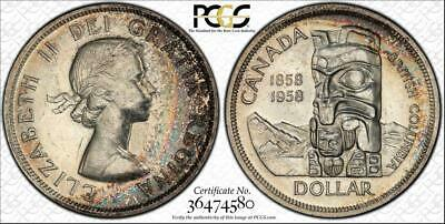 "1958 Canada $1 Dollar Bu Unciculated Pcgs Genuine Unc Detail ""Cleaned"" Toned"