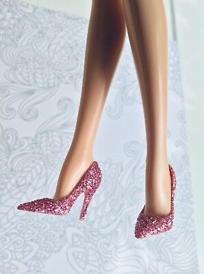 Barbie Model Muse Shoes Silkstone Point Toe Pink Glittery Pumps Birthday Wishes