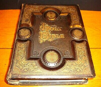 Antique 1880 HOLY BIBLE Illustrated Engravings Leather | Brown's Concordance Vtg