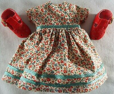 Floral Print Dress & Red Shoes Outfit for Vogue Vintage Reproduction Ginny