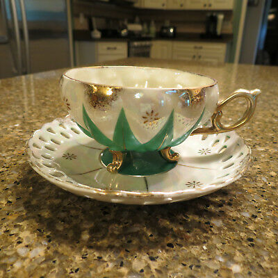 Vintage Lusterware cup and Saucer made in Japan