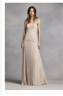 5e607cbcf4aa Davids Bridal Vera Wang White Champagne Dress Gown Sz 0 NEW With Tags