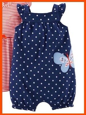 98a350939 BABY GIRLS CARTERS Navy Blue Polka Dot Baby Crab Romper Size 12M ...