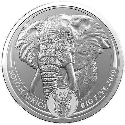 2019 1 Oz Silver 5 Rand South Africa ELEPHANT  Big Five Coin.