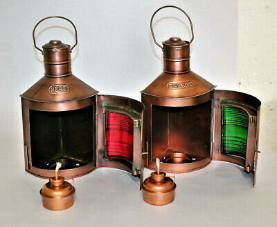 Antique Brass Finish Port & Starboard Lanterns Nautical Oil Lamps Ship Light