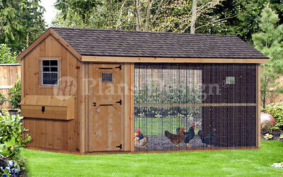 Large Chicken / Duck Coop Plans 6 by 12 Gable / A-frame Roof Style, # 70612CG
