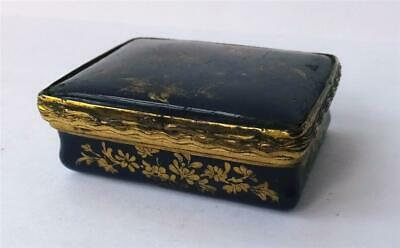 ANTIQUE 18th CENTURY BLUE ENAMEL and ORMALOU SNUFF BOX /PATCH BOX - BATTERSEA?