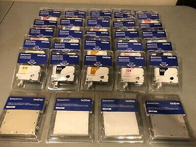 Lot of 34 BROTHER APPLIQUE STATION Embroidery Thread Cartridges & Fabrics NEW!!