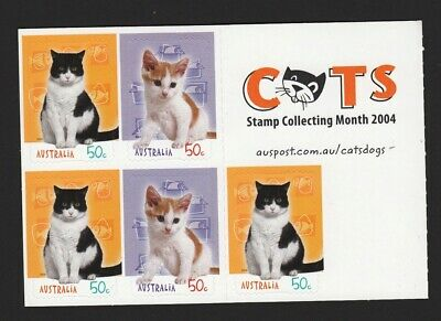 2004 Australian Decimal Stamps - Cats  stamp collecting month - MNH P&S sheetlet