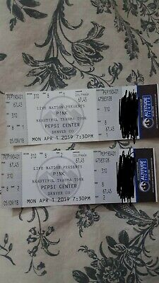 Pink Concert Tickets (2) at Pepsi Center, Denver CO 4/1/19