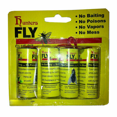 4 Pack Fly Catcher Strong Sticky Glue Strips Pest Bug Insect Catcher Roll Board