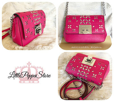 2d7ad1ec0def Nwt Michael Kors Leather Stud Perforated Tina Small Clutch Crossbody Bag In  Pink