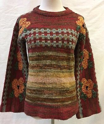 c58e0a2093 Railroad Station Women s Floral Striped Pullover Sweater Bell Sleeves Mod  Sz L