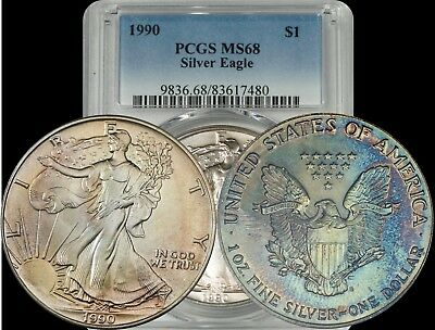 1990 American Silver Eagle PCGS MS68 Green/Yellow/Blue/Maroon Toned Coin ASE