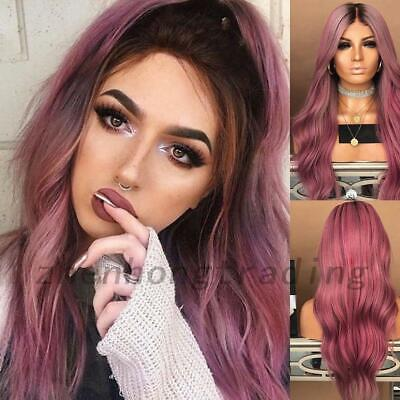 AU Womens Ladies Fashion Full Long Hair Wig Curly Real Synthetic Hair Wavy Ombre