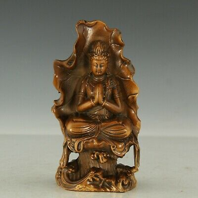 Chinese Exquisite Hand-carved lotus Guanyin Carving Boxwood statue