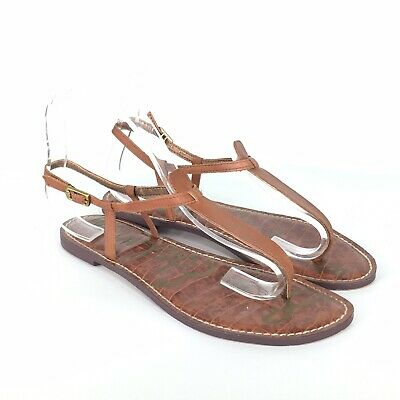 9cbe2a0fb48f SAM EDELMAN GIGI Brown Leather Thong T Strap Sandals Size 8 M ...